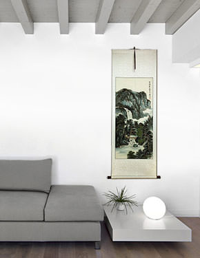 Chinese Waterfall Landscape Wall Scroll living room view