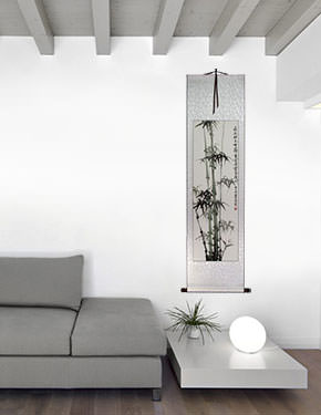 Chinese Bamboo Wall Scroll living room view