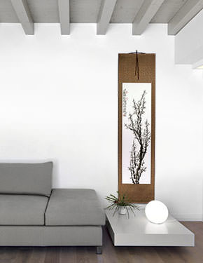 Traditional Chinese Plum Blossom Wall Scroll living room view