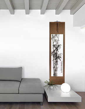 New Chinese Bamboo Wall Scroll living room view