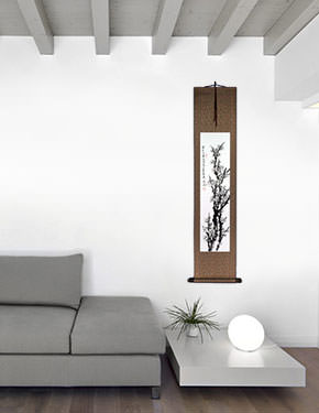 Blooming Plum Blossom - Fragrant Breeze - Wall Scroll living room view