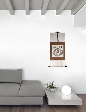 Enjoy Life, Live in a Tea Pot - Chinese Philosophy Wall Scroll living room view