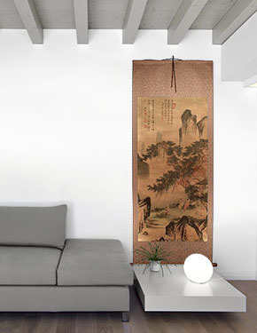 Happy Family - Chinese Landscape Print Wall Scroll living room view