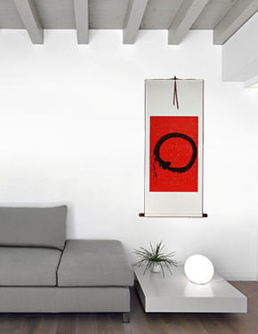 Large Red Enso Symbol - Japanese Wall Scroll living room view