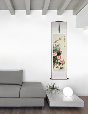 Fresh Breeze, Drifting Far - Bird & Flower Chinese Scroll living room view