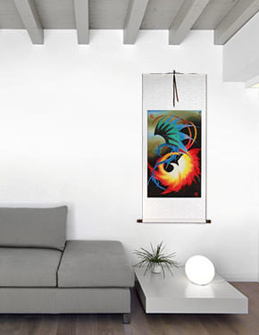Chinese Dragon and Phoenix - Wall Scroll living room view