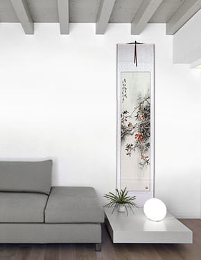 Birds and Flowers Wall Scroll living room view