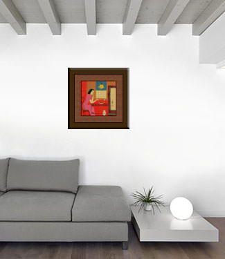 Woman Drinking - Chinese Modern Art Painting living room view