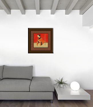 Flute Playing Woman - Modern Art Painting living room view