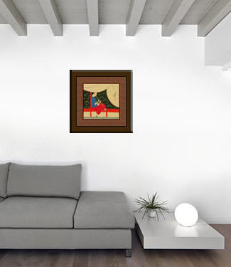 Woman Playing Flute by Pond - Modern Art Painting living room view