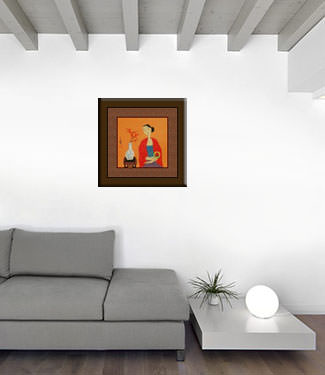 Asian Woman and Kitten - Modern Art Painting living room view