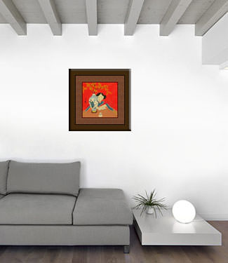 Asian Woman and Flower Vase - Modern Art Painting living room view
