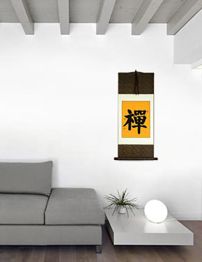 Zen / Chan Japanese Kanji / Chinese Character Wall Scroll living room view