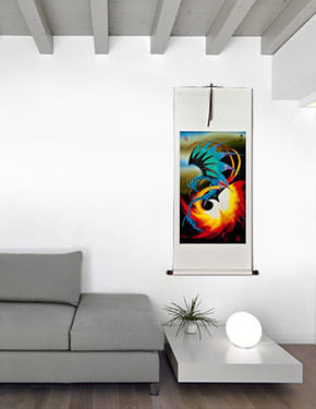 Dragon and Phoenix Wall Scroll living room view