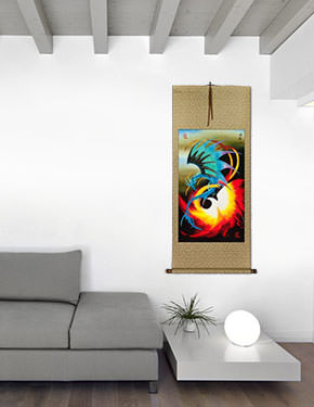 Dragon and Phoenix Chinese Wall Scroll living room view