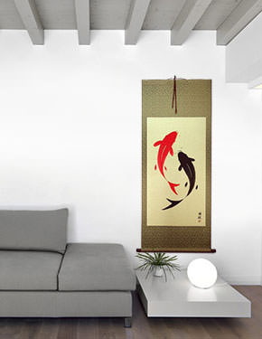 Large Yin Yang Fish Hanging Scroll living room view
