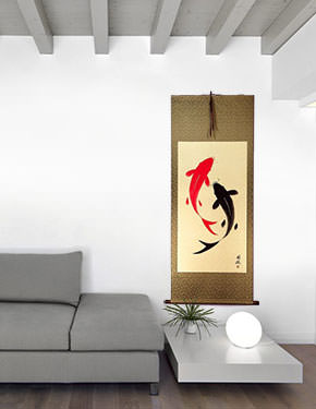 Yin Yang Koi Fish Large Oriental Scroll living room view
