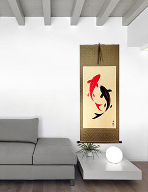 Yin Yang Koi Fish Big Chinese Scroll living room view