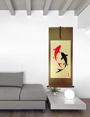 Yin Yang Fish - Huge-Size Wall Scroll living room view