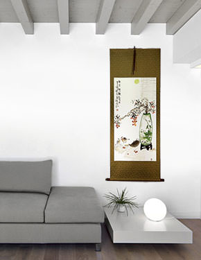 Traditional Antique-Style Plum Blossom Still Life - Large Wall Scroll living room view