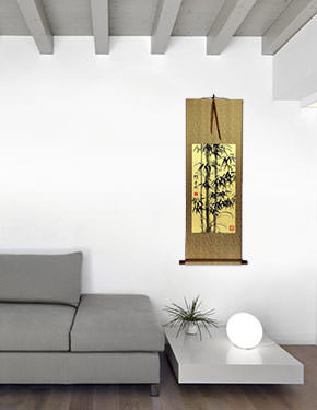 Black Ink Asian Bamboo Wall Scroll living room view
