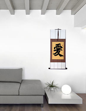 LOVE - Chinese & Japanese Kanji Calligraphy Wall Scroll living room view