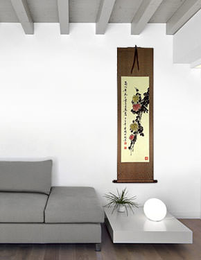 Chrysanthemum Flower Wall Scroll living room view