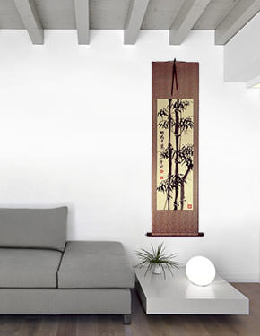 Safe and Sound Bamboo Wall Scroll living room view