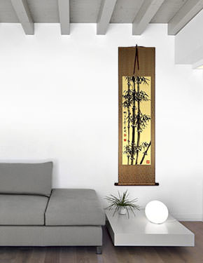 Black Ink Chinese Bamboo Wall Scroll living room view