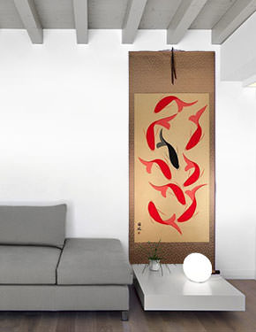 Large Nine Abstract Oriental Koi Fish Wall Scroll living room view
