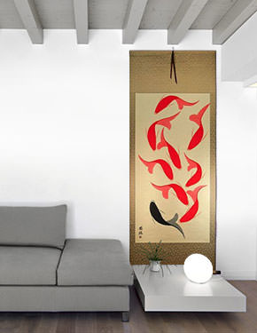 Large Nine Abstract Fish Wall Scroll living room view