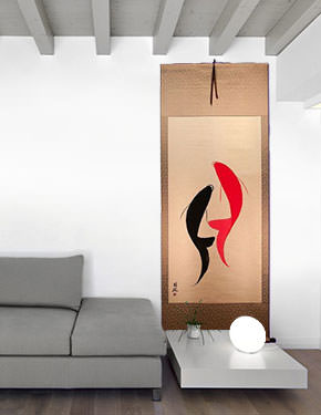 Yin Yang Koi Fish Oriental Scroll living room view