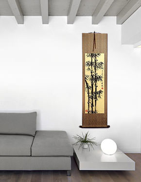 Chinese Freestyle Bamboo Wall Scroll living room view
