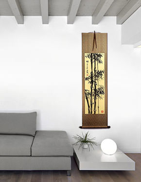 Tall Chinese Ink Bamboo Wall Scroll living room view