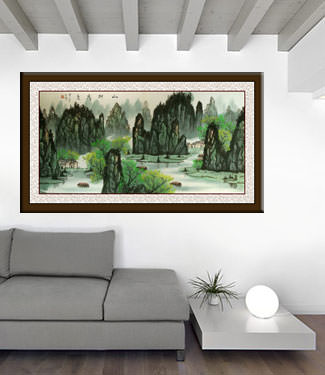 Huge Li River Green Trees Landscape Painting living room view