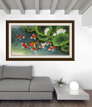 Koi Fish and Lillies Feeding Time Painting living room view
