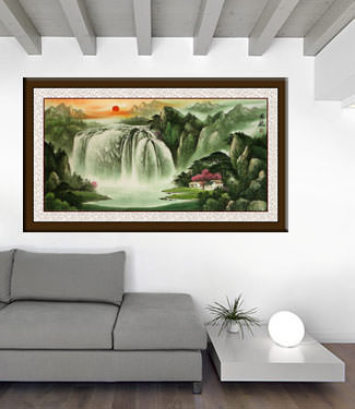 Big Chinese Waterfall Landscape living room view