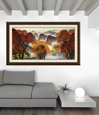 Li River Large Landscape Painting living room view