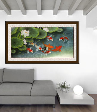 Koi Fish Feeding Time Painting living room view