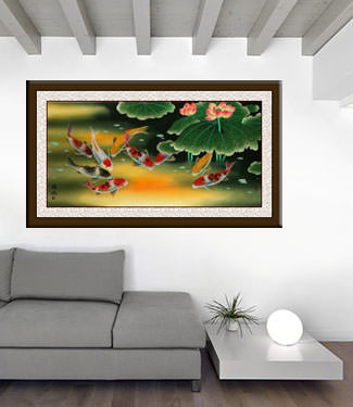 Huge Koi Fish and Lily Painting living room view