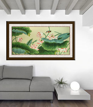 Little Bird and Beautiful Lotus Painting living room view