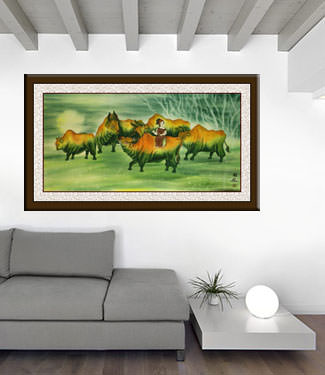Ox Lady - Large Chinese Painting living room view