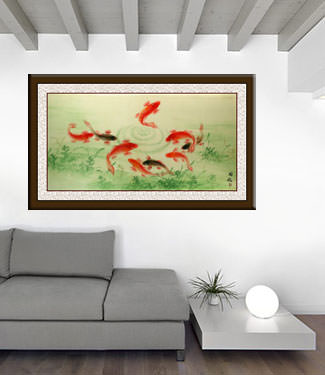 Koi Fish Feeding - Asian Painting living room view