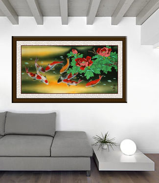 Huge Koi Fish and Peony Flower Painting living room view