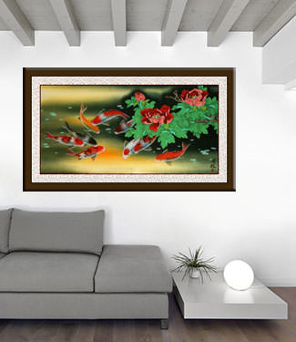 Large Koi Fish and Peony Flower Painting living room view