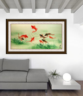 Koi Fish Feeding - Chinese Painting living room view