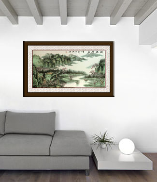 Clouds of Shangra-La - Asian Art Landscape living room view