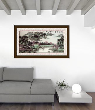Chinese Green Landscape Painting living room view