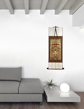 Buddhist Paradise Altar Print - Wall Scroll living room view