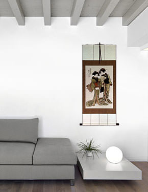 Beauties of the East - Japanese Woodblock Print Repro - Large Wall Scroll living room view